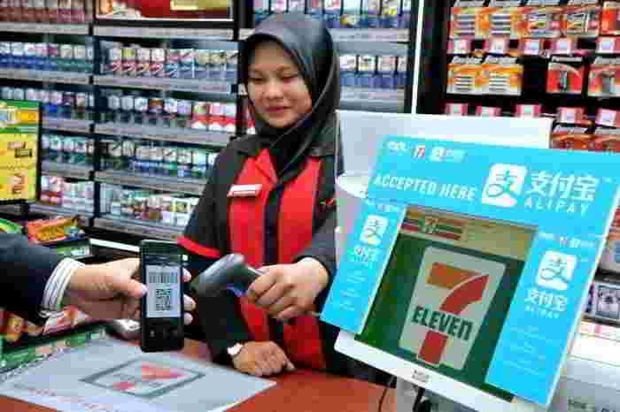 马来西亚支付宝在7-11扫码付款