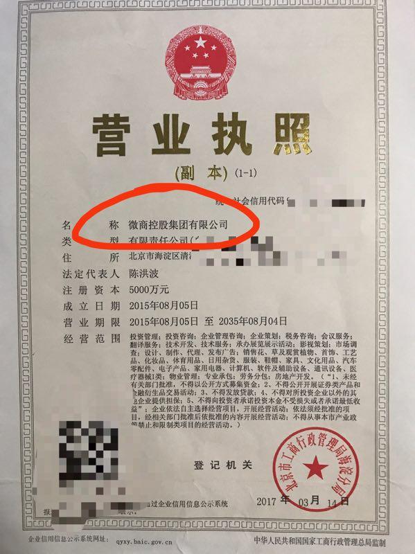 微商控股集团营业执照