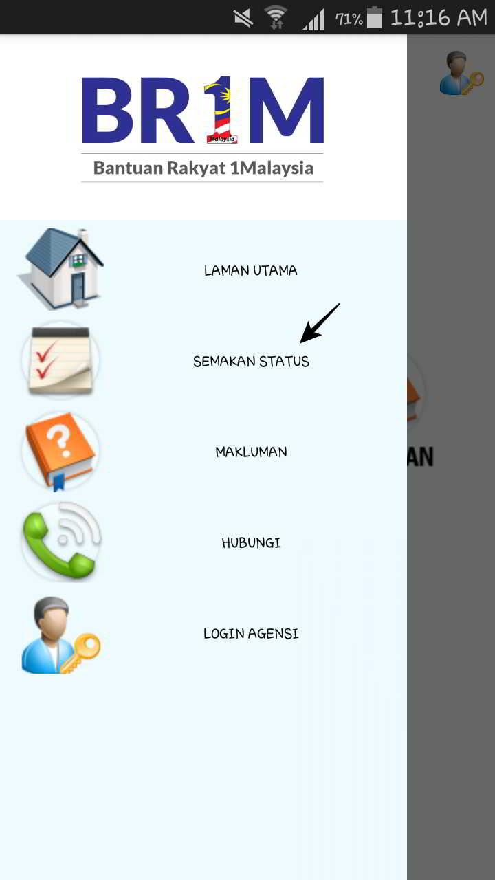 BR1M手机APP主页单击SemakanStatus