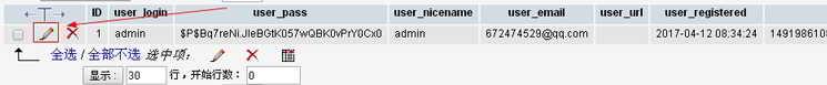 点击wp_users表上的编辑按钮