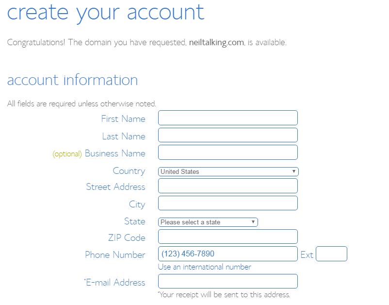 购买BlueHost美国主机,填写个人信息