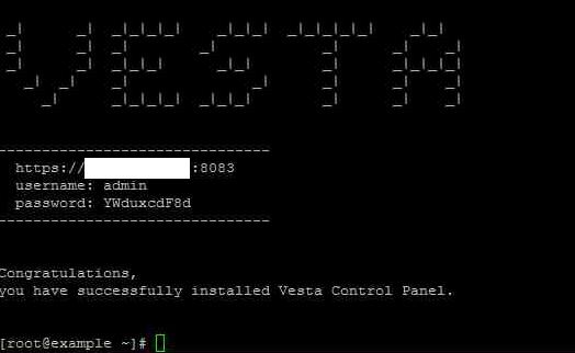 VestaCP安装成功后,将显示登录信息