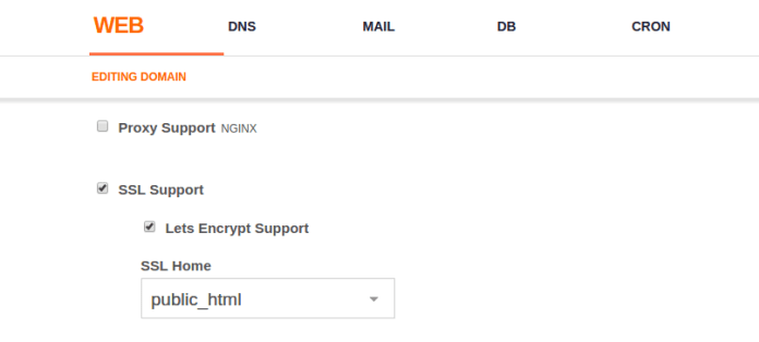 VestaCP面板找到并勾选 SSL 和Let's Encrypt