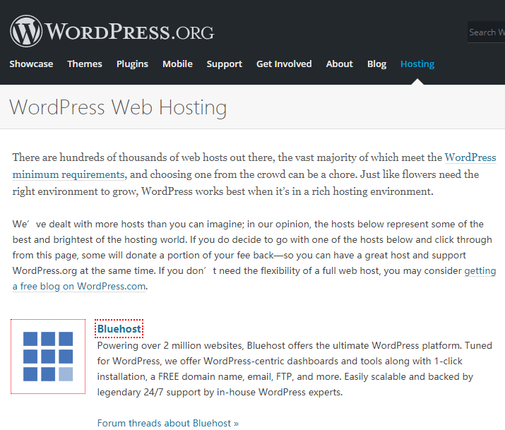Wordpress官方推荐使用Bluehost
