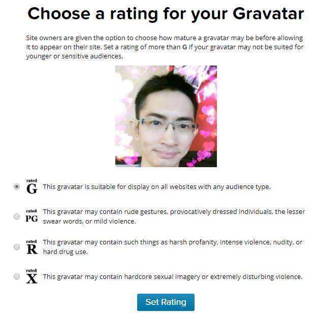 设置 Gravatar 头像级别