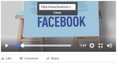 一个小方框将出现,里面包含Facebook视频链接