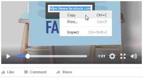 要复制Facebook视频网址,请右键单击链接并选择复制