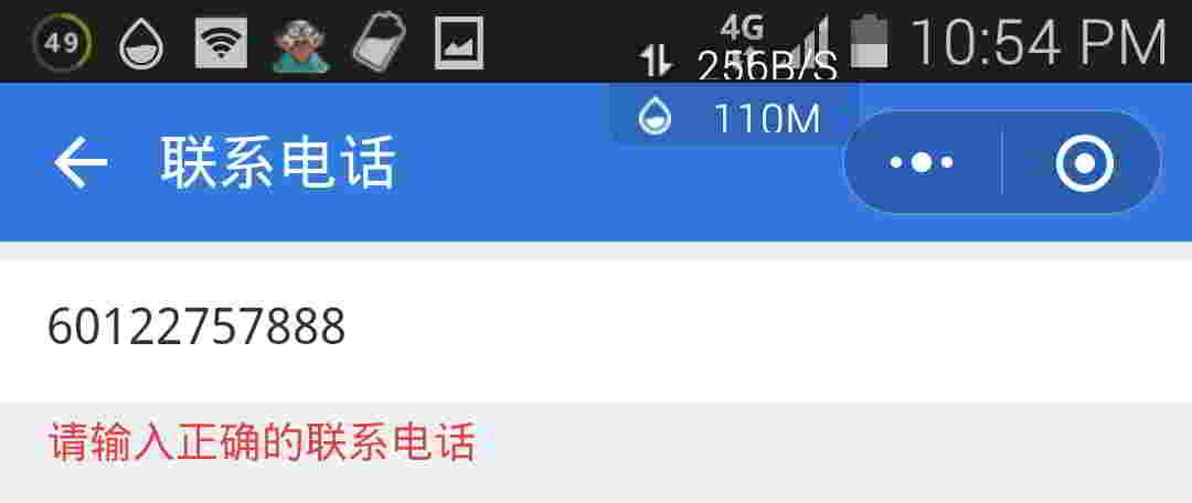 腾讯客服小程序,反馈微信问题:输入海外的手机号码,无法通过