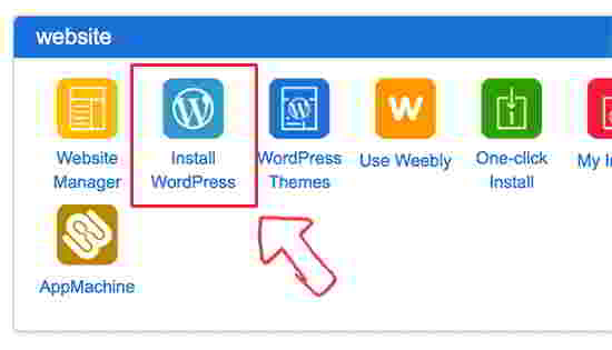 "找到 ""Website"" 选项卡 然后单击 ""Install WordPress(安装WordPress)"""