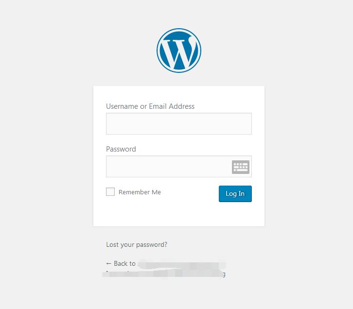 通常会显示如图所示的WordPress登录页面
