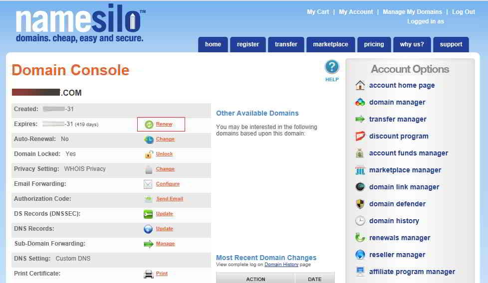NameSilo 域名管理界面
