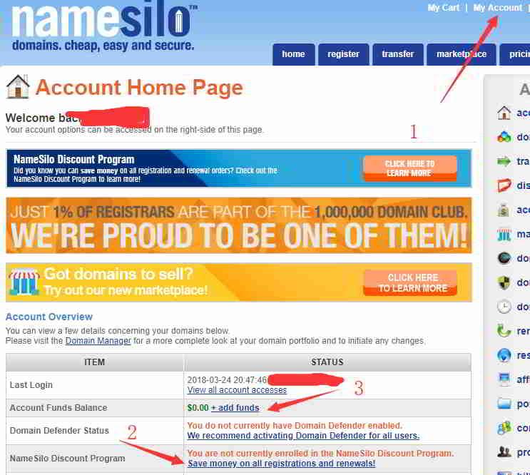 进入你的NameSilo账号页面