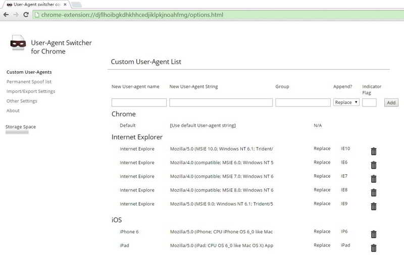 """进入 User-Agent Switcher for Chrome""""选项"""""""