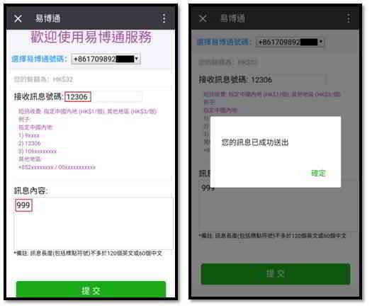 用易博通中国手机号码:输入消息内容999,并将其发送到12306