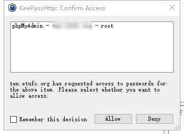 chromeIPass会询问KeePassHttp,KeePass数据库中是否有关于此URL的任何记录