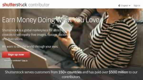 Shutterstock卖照片赚钱的网站