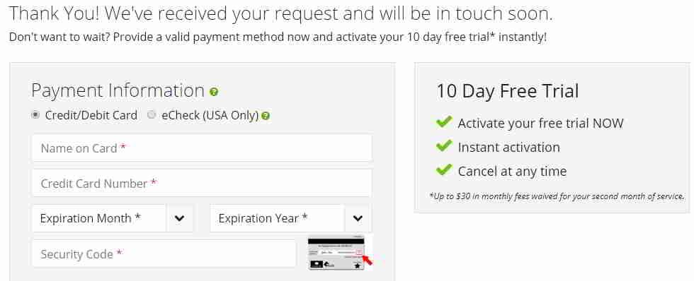 申请 tollfreeforwarding 虚拟手机号码,输入信用卡/借记卡信息