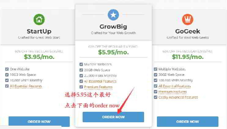 "购买SiteGround主机:点击下方""ORDER NOW"""