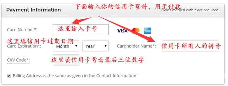 购买SiteGround主机:填写信用卡/借记卡的付款信息