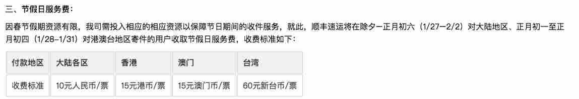 顺丰2017春节加收的快递服务费