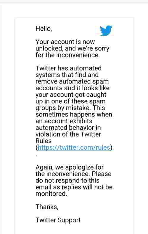 收到回复解封推特账号的电子邮件