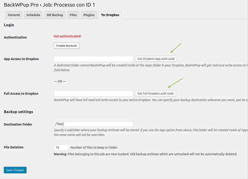 通过BackWPup插件在Dropbox中重新进行身份验证