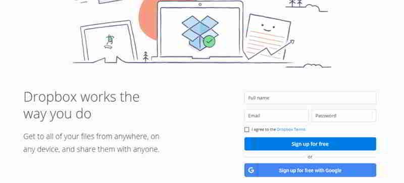 访问dropbox.com并注册账号