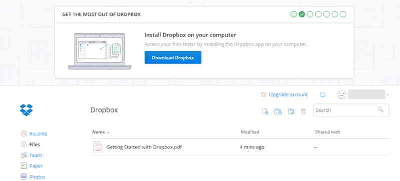你可以访问Dropbox仪表板,你可以在其中存储,管理和共享文件