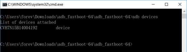 如果你看到CMD显示一串字符,则表示Android机器,已成功以USB调试的形式连接到Win10