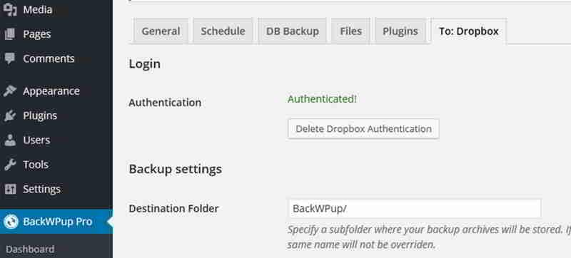 BackWPup现在应该向你显示它已成功连接到Dropbox。