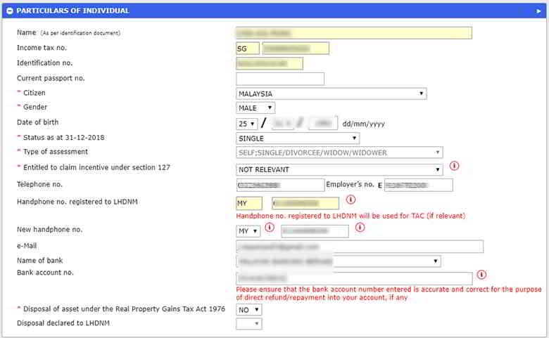 e filing怎么填?e filing教学填写你的个人信息