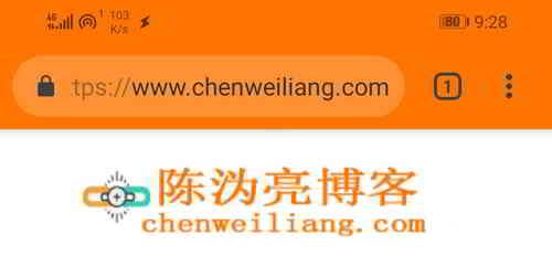 陈沩亮博客已修改Chrome浏览器主题颜色的屏幕截图