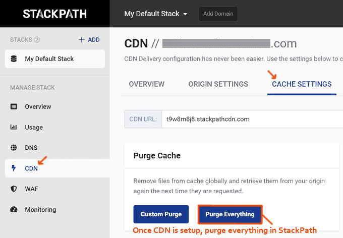 StackPath CDN清除数据缓存