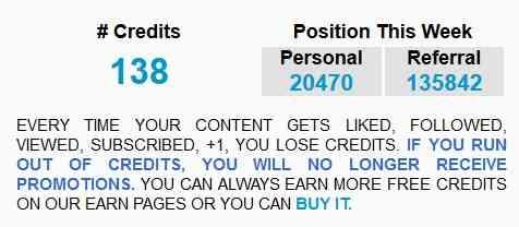 like4like刷赞工具:右边的Credits(积分)
