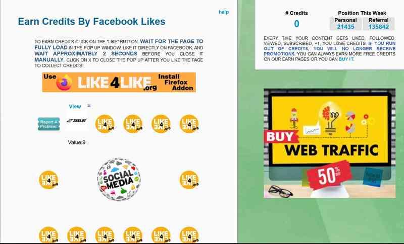"""我们以Facebook Likes点赞为例,单击Facebook Likes进入任务页面。 完成页面中的所有点赞任务,只需单击头像,进入指定的页面,然后单击""""Like""""。"""
