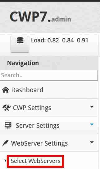在CWP控制面板左侧点击:WebServer Settings → Select WebServers