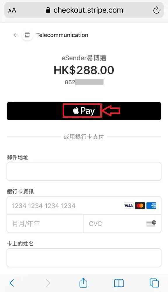 第 7 步:按「苹果 Pay」按钮,进行付款
