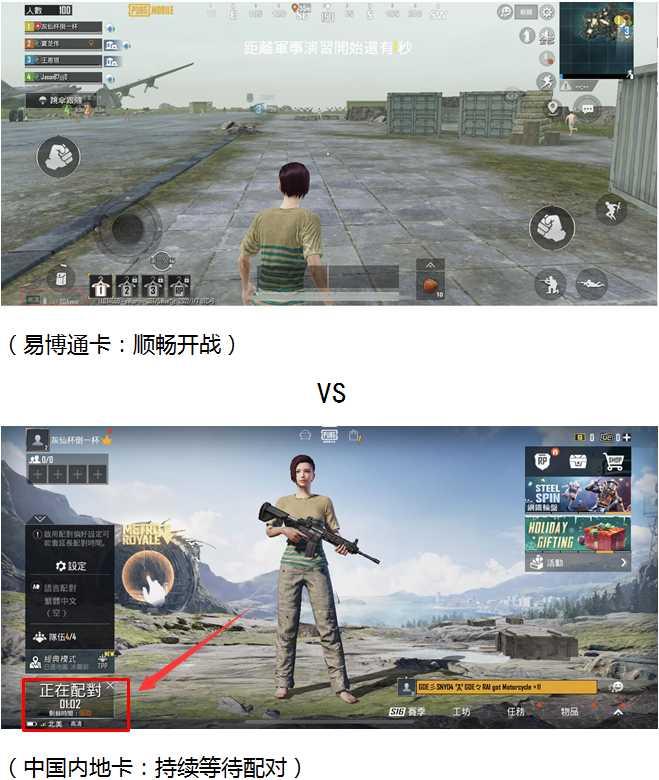 用易博通香港手机号码无限流量卡套餐卡和中国内地卡进入海外游戏