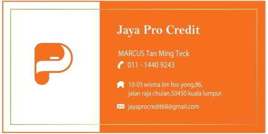 Jaya Pro Credit合法贷款公司骗子Marcus名片