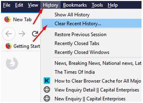 如何清除Firefox中的DNS缓存?转到火狐浏览器History(历史记录),然后单击Clear History(清除历史记录)选项