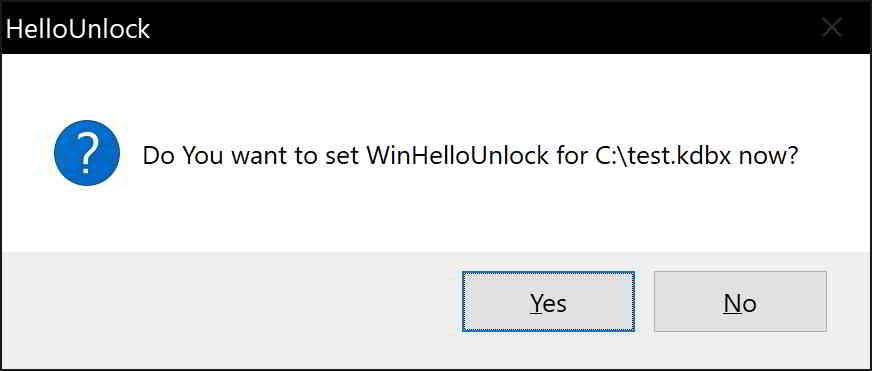 解锁KeePass数据库后,系统将询问你是否要设置WinHelloUnlock?