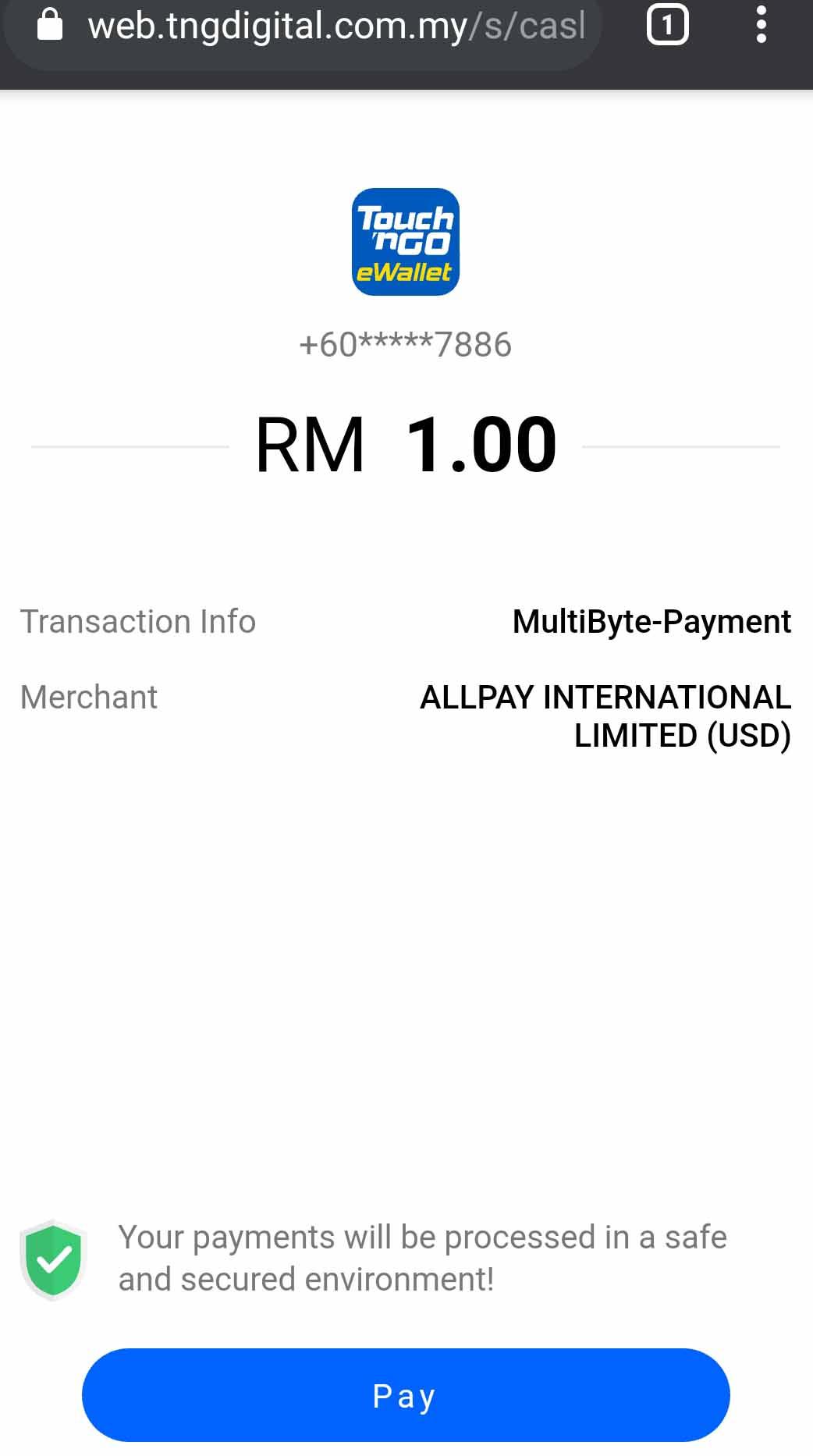 Touch N Go(TNG)电子钱包测试充值易博通