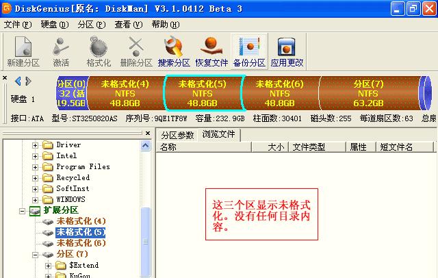 在DiskGenius软件界面中,这三个区显示未格式化状态。 没有目录内容。