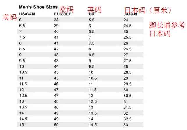 阿迪达斯男子鞋款尺码表