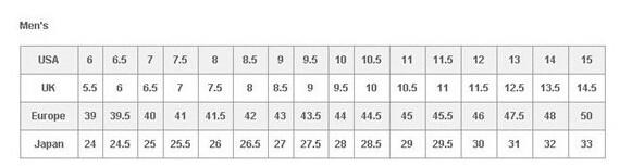 Timberland/天木兰男鞋尺码对应表