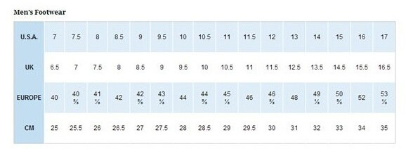 Columbia/哥伦比亚男鞋尺码对应表