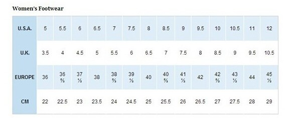Columbia/哥伦比亚女鞋尺码对应表