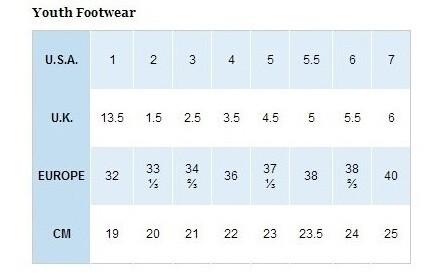 Columbia/哥伦比亚青少年鞋尺码对应表