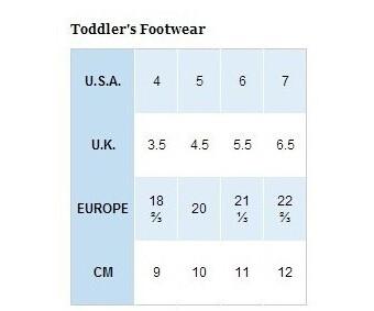 Columbia/哥伦比亚幼童鞋尺码对应表