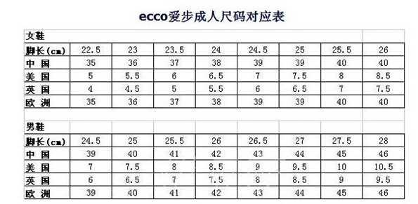 Ecco/爱步男女成人鞋尺码对应表